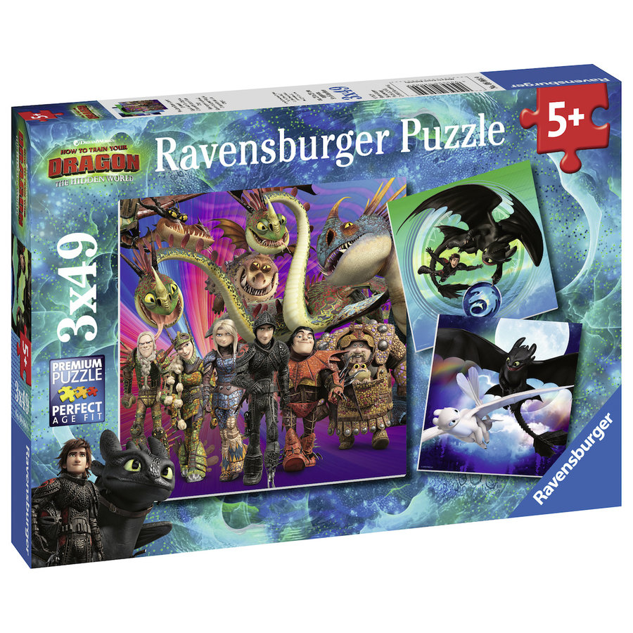 Dragons 3   - 3 puzzles of 49 pieces-2