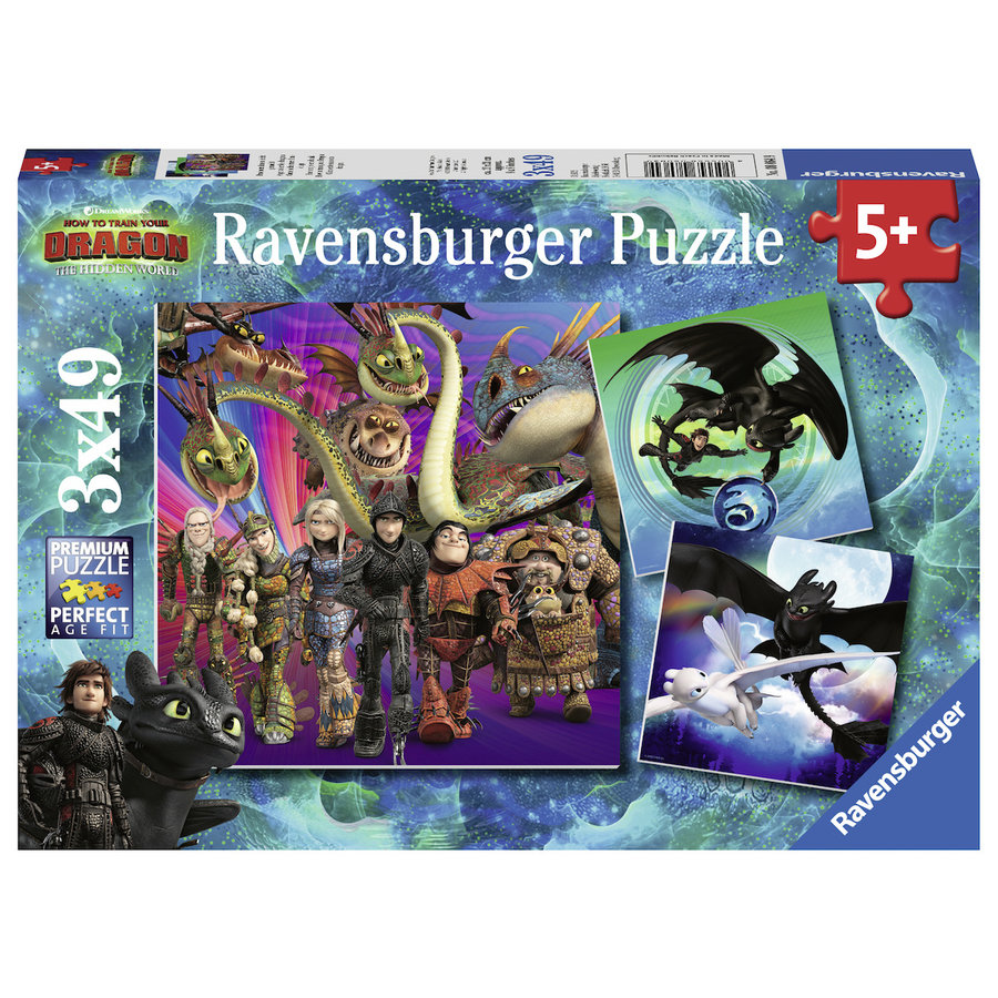 Dragons 3   - 3 puzzles of 49 pieces-1