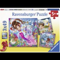 Betoverende zeemeerminnen  - 3 puzzels van 49 stukjes