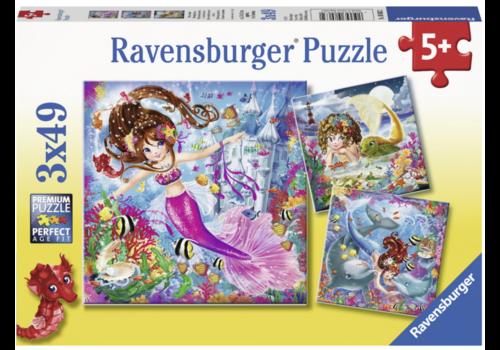 Ravensburger Betoverende zeemeerminnen - 3 x 49 stukjes