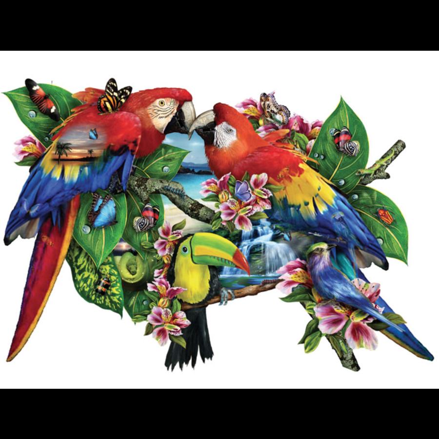 Papegaaien in het paradijs - legpuzzel van 1000 stukjes-1