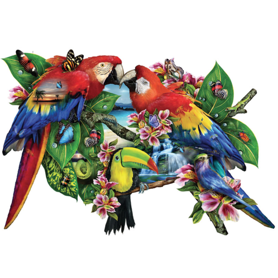 Parrots in Paradise  - jigsaw puzzle of 1000 pieces-1