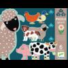 Djeco 6 reuzengrote puzzels van boerderijdieren - 9, 12 en 15 stukjes