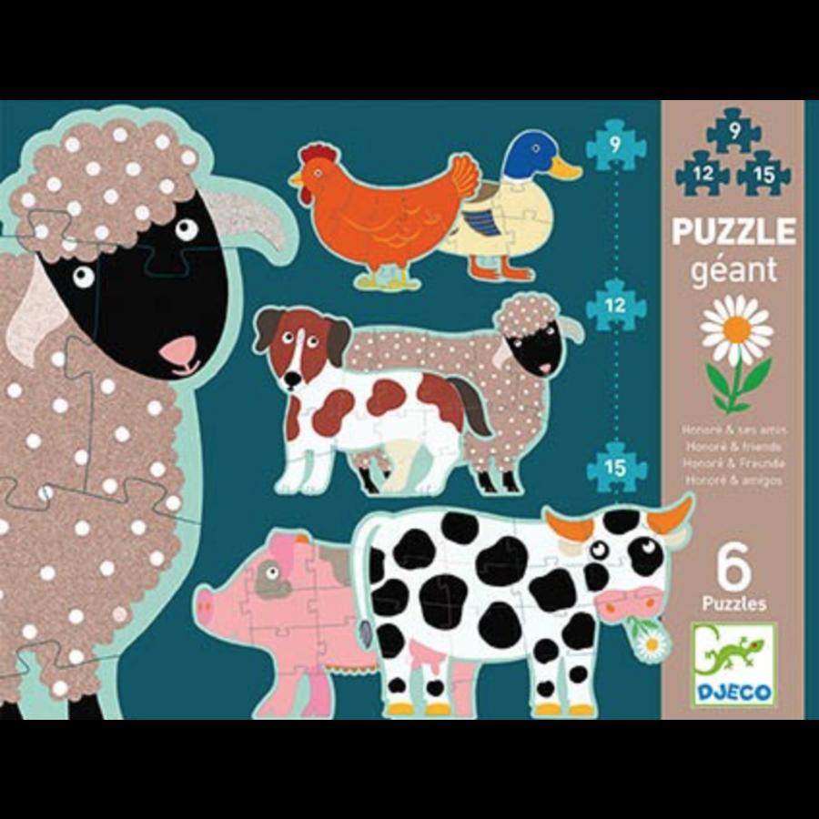 6 reuzengrote puzzels van boerderijdieren - 9, 12 en 15 stukjes-1