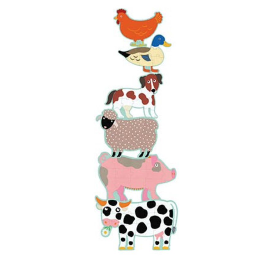 6 reuzengrote puzzels van boerderijdieren - 9, 12 en 15 stukjes-2