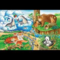 thumb-Dieren in de dierentuin - 2 puzzels van 12 stukjes-2