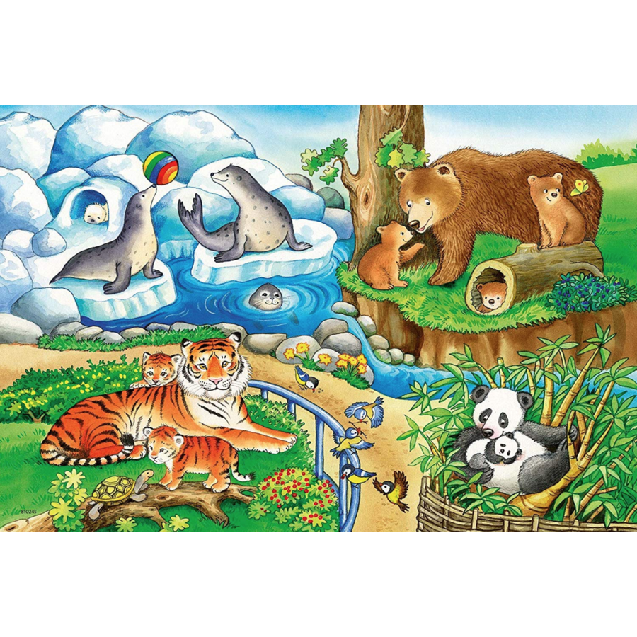 Animals in the zoo - 2 puzzles of 12 pieces-2