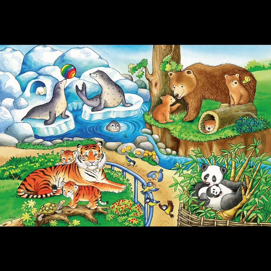 Dieren in de dierentuin - 2 puzzels van 12 stukjes-2