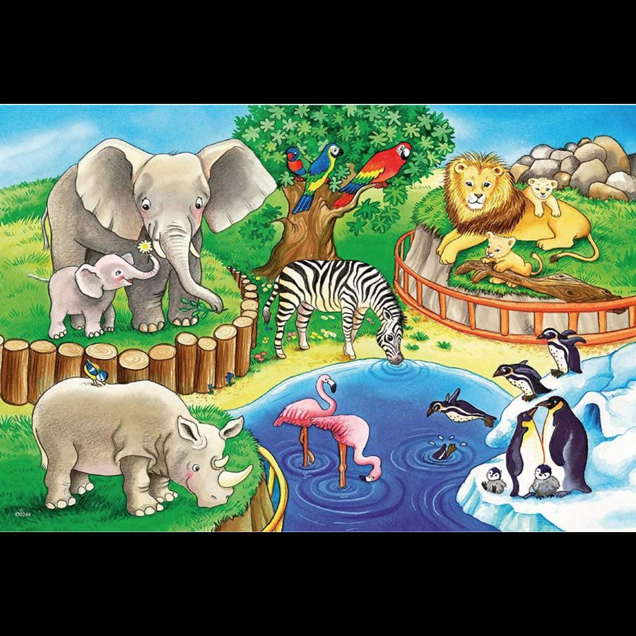 Dieren in de dierentuin - 2 puzzels van 12 stukjes-3