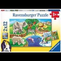 thumb-Dieren in de dierentuin - 2 puzzels van 12 stukjes-1