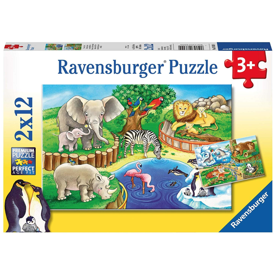 Animals in the zoo - 2 puzzles of 12 pieces-1