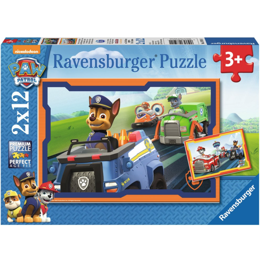 Paw Patrol en action - 2 puzzles de 12 pièces-1