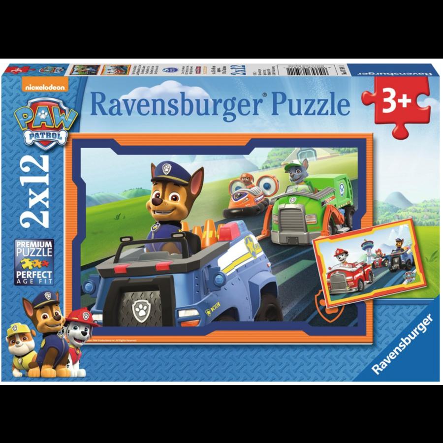 Paw Patrol in actie - 2 puzzels van 12 stukjes-1
