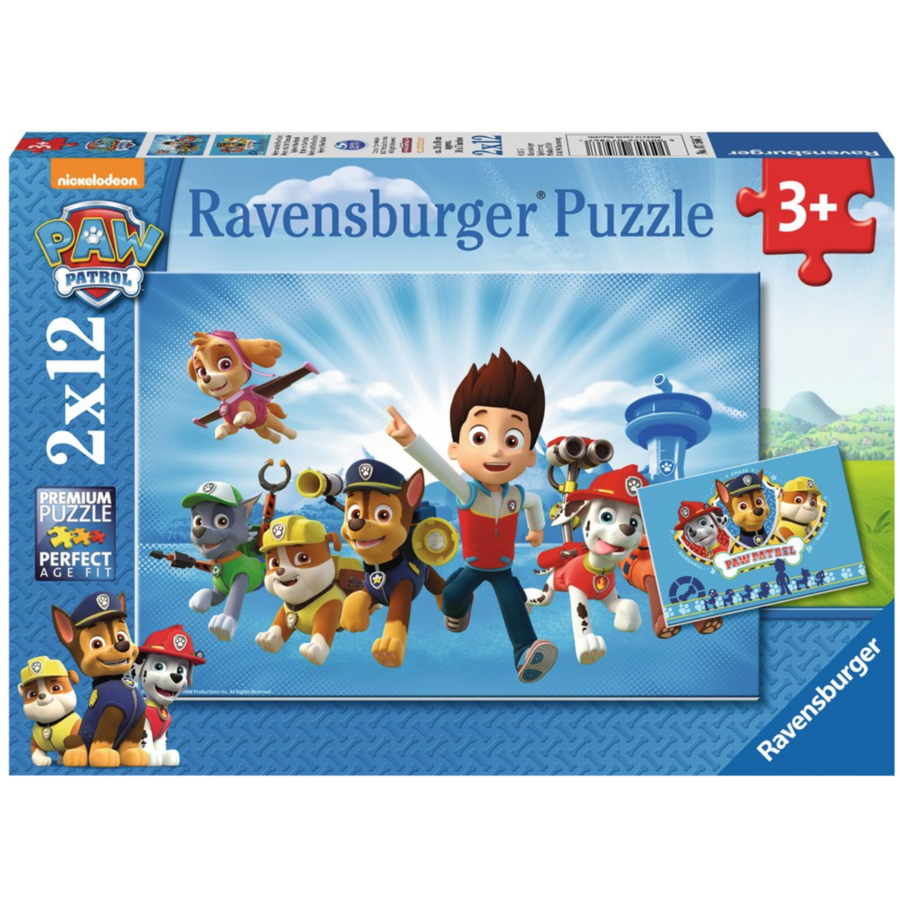 Paw Patrol samen met Ryder - 2 puzzels van 12 stukjes-1