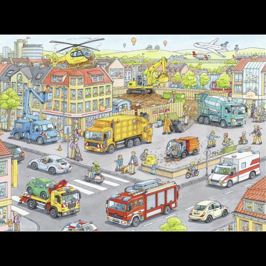 Voertuigen in de stad  - puzzel van 100 stukjes-2