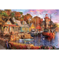 thumb-The harbour evening  - jigsaw puzzle of 5000 pieces-1