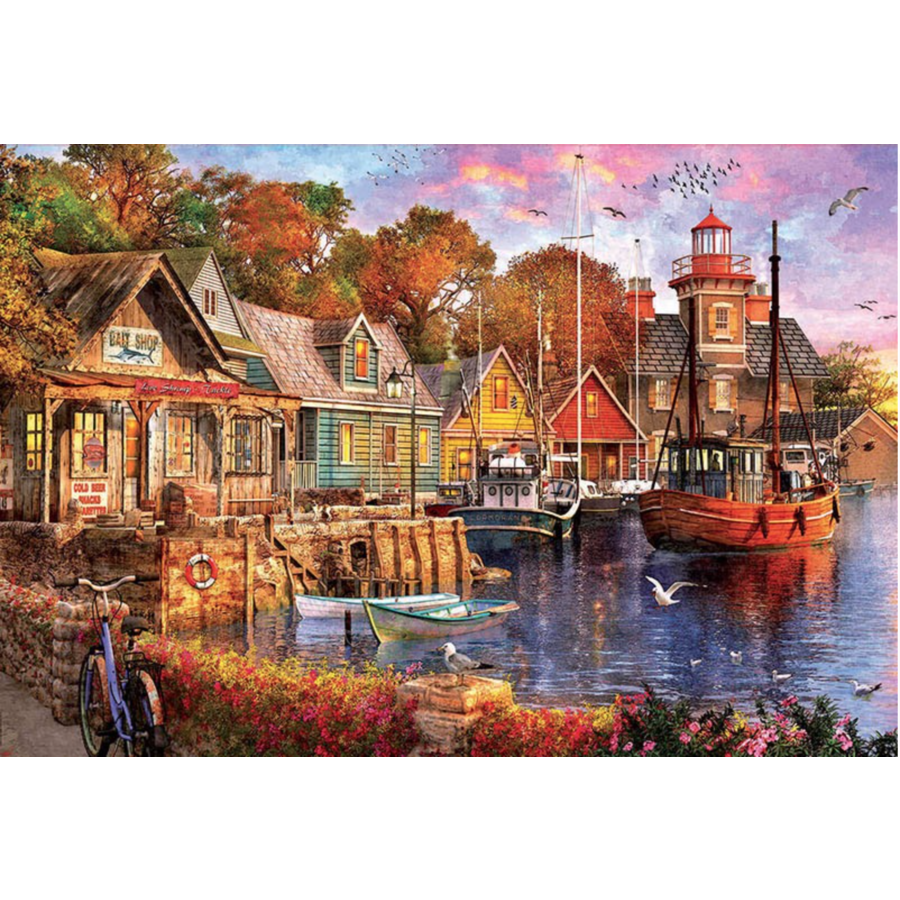 Zonsondergang aan de haven - puzzel van 5000 stukjes-1