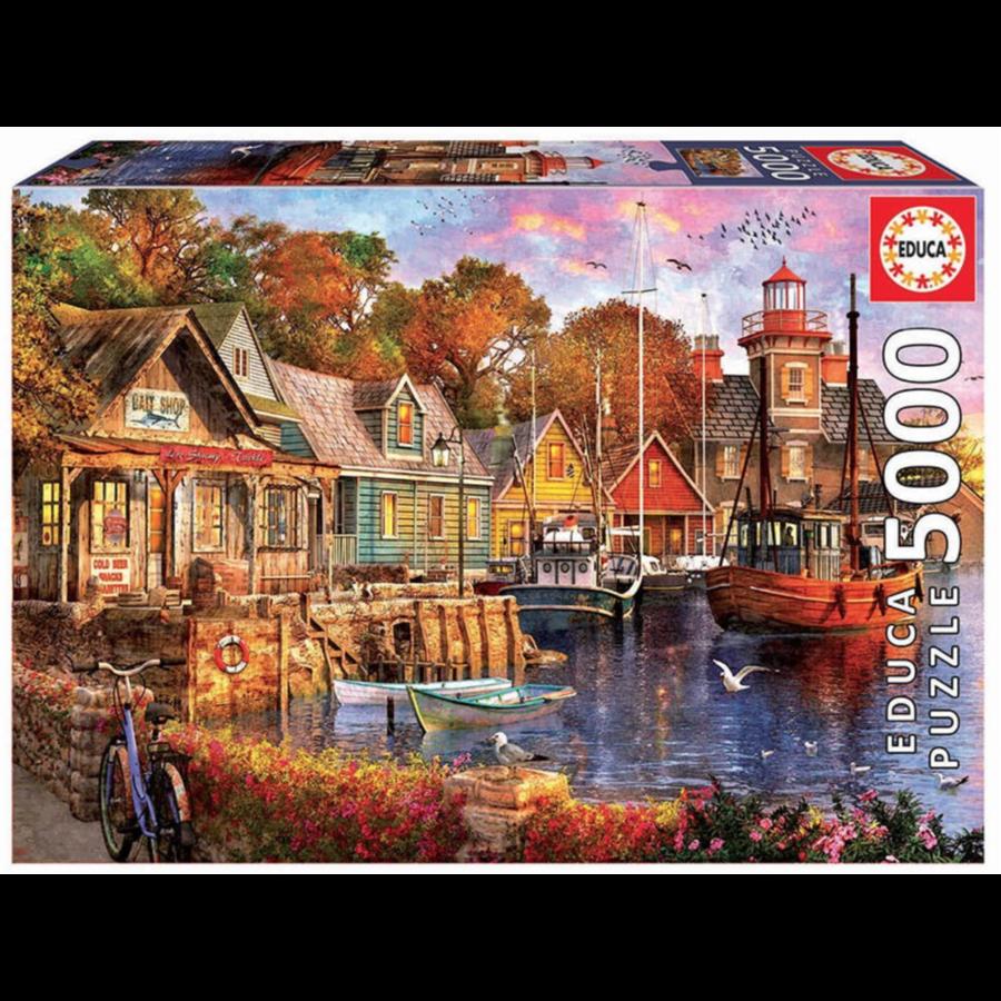 Zonsondergang aan de haven - puzzel van 5000 stukjes-2