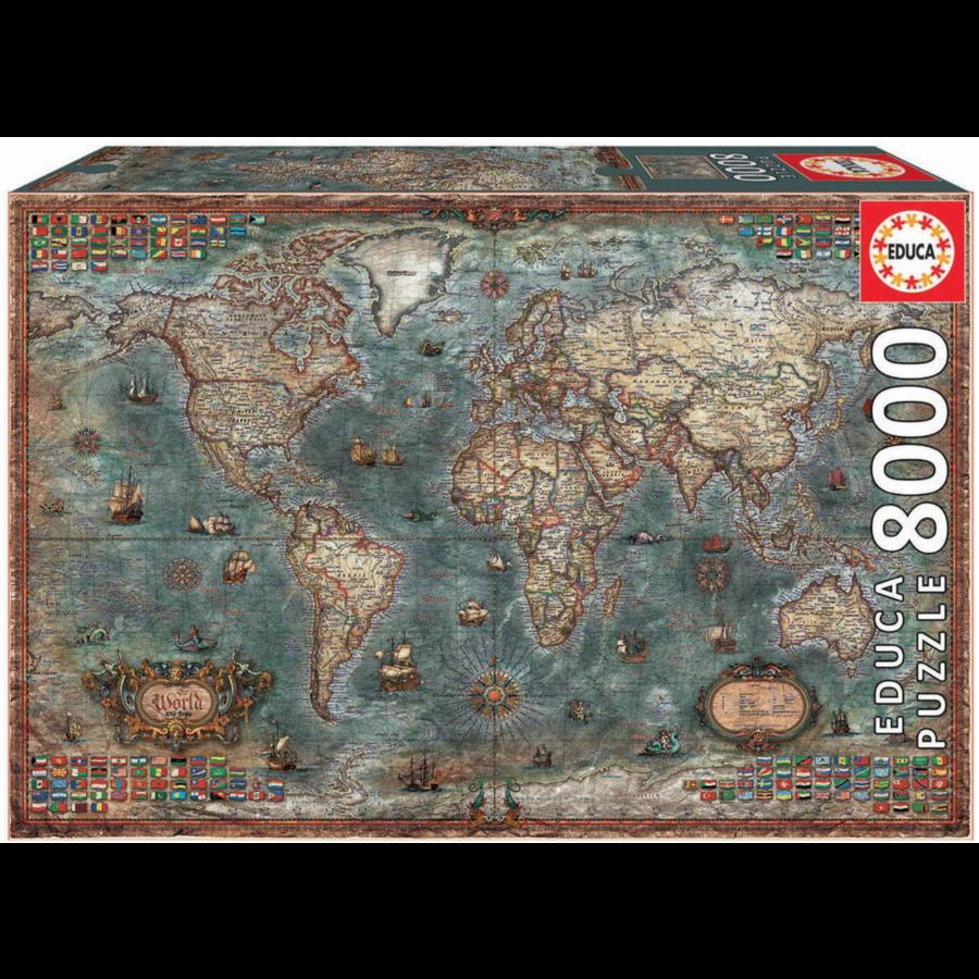 Historische wereldkaart - puzzel van 8000 stukjes-1