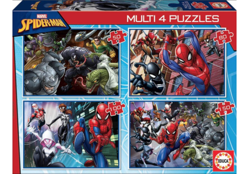 Spiderman - 4 puzzles of 50 / 80 / 100 / 150 pieces
