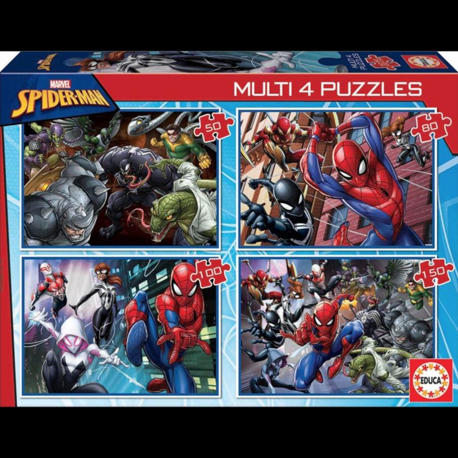 Spiderman - 4 puzzels van 50 / 80 / 100 / 150 stukjes-1