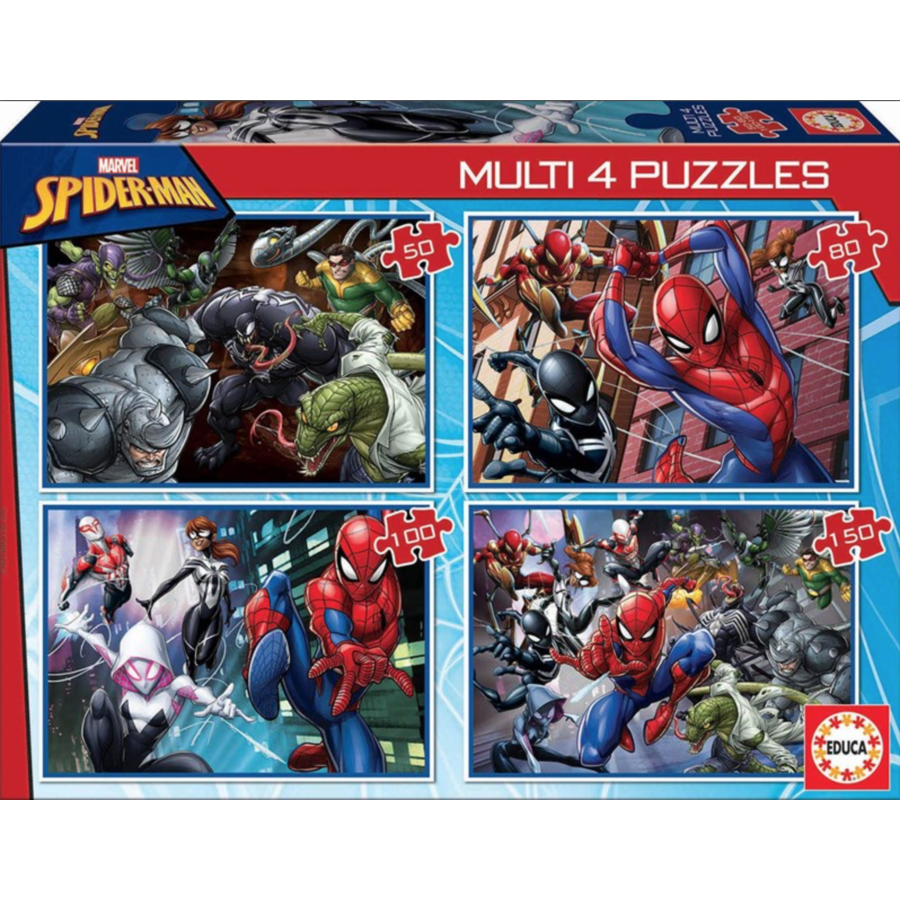 Spiderman - 4 puzzles of 50 / 80 / 100 / 150 pieces-1