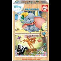 HOUT:  Dumbo en Bambi - 2 puzzels x 16 stukjes