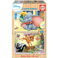 WOOD: Dumbo and Bambi - 2 puzzles x 16 pieces