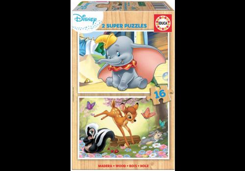 HOUT: Dumbo en Bambi - 2 x 16 stukjes