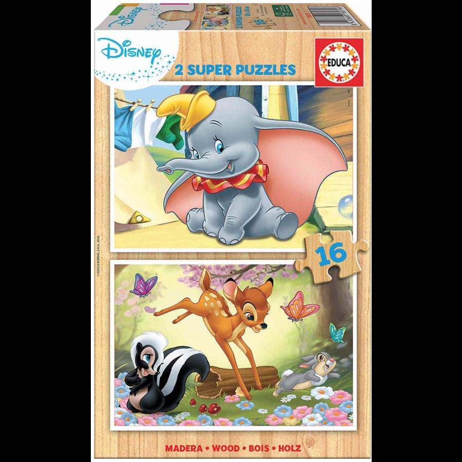 HOUT:  Dumbo en Bambi - 2 puzzels x 16 stukjes-1