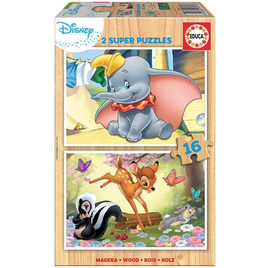 WOOD: Dumbo and Bambi - 2 puzzles x 16 pieces-1