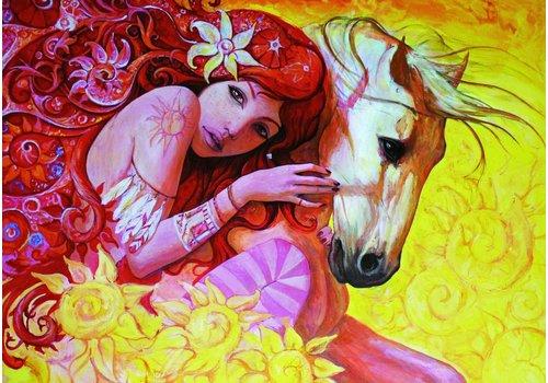 Schilderij vrouw met paard - 1500 stukjes