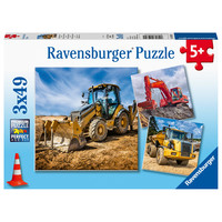 thumb-Construction vehicles - 3 puzzles of 49 pieces-1