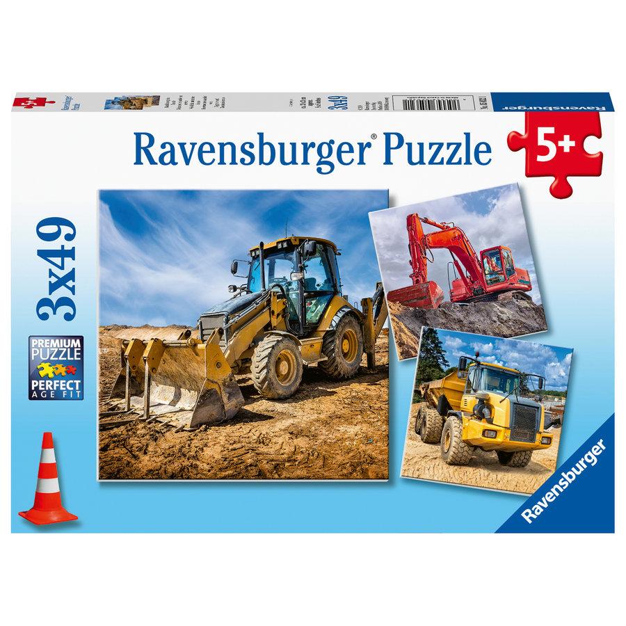 Bouwvoertuigen - 3 puzzels van 49 stukjes-1