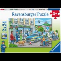 De politie - 2 puzzels van 24 stukjes