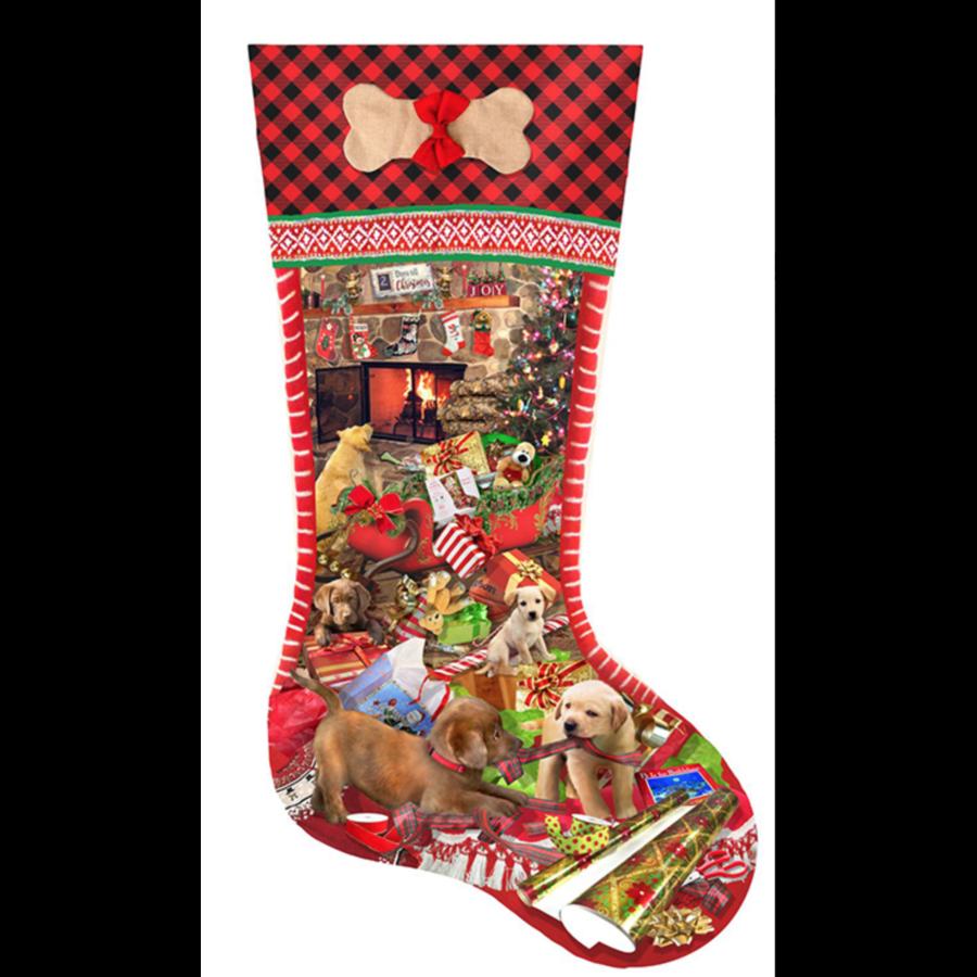 Kerstsok Puppy - legpuzzel van 800 stukjes-1