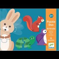 thumb-Puzzel duo - Bewegende dieren - 6 x 2 stukjes-1