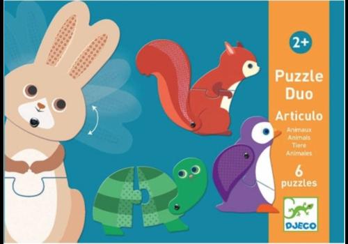 Puzzel duo - Bewegende dieren - 6 x 2 stukjes
