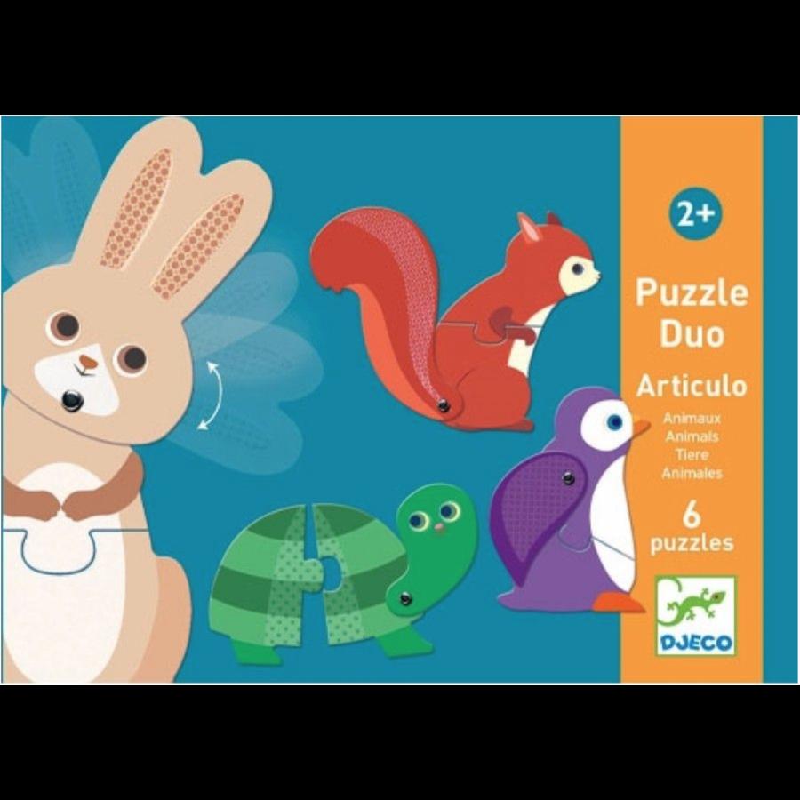 Puzzel duo - Bewegende dieren - 6 x 2 stukjes-1