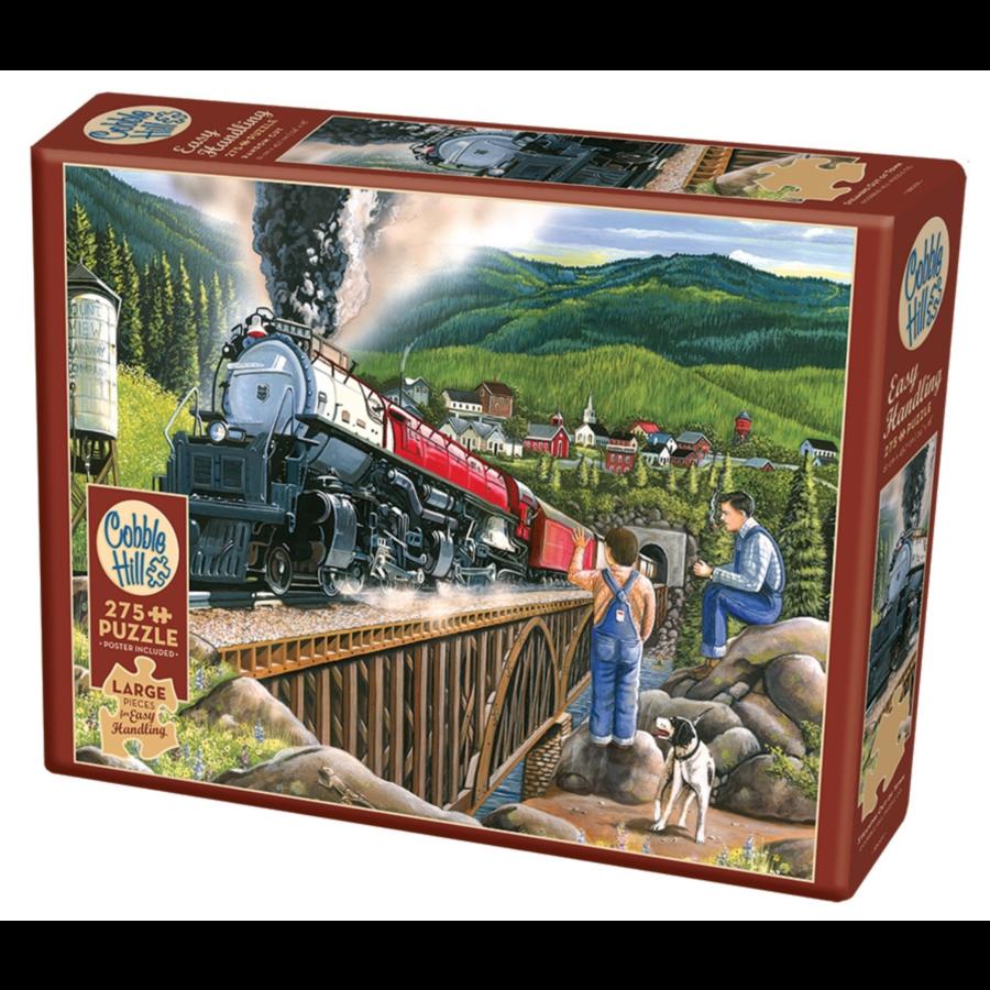 Le train à vapeur quitte la ville - puzzle de 275 pièces XXL-1