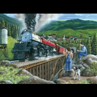 thumb-Le train à vapeur quitte la ville - puzzle de 275 pièces XXL-2