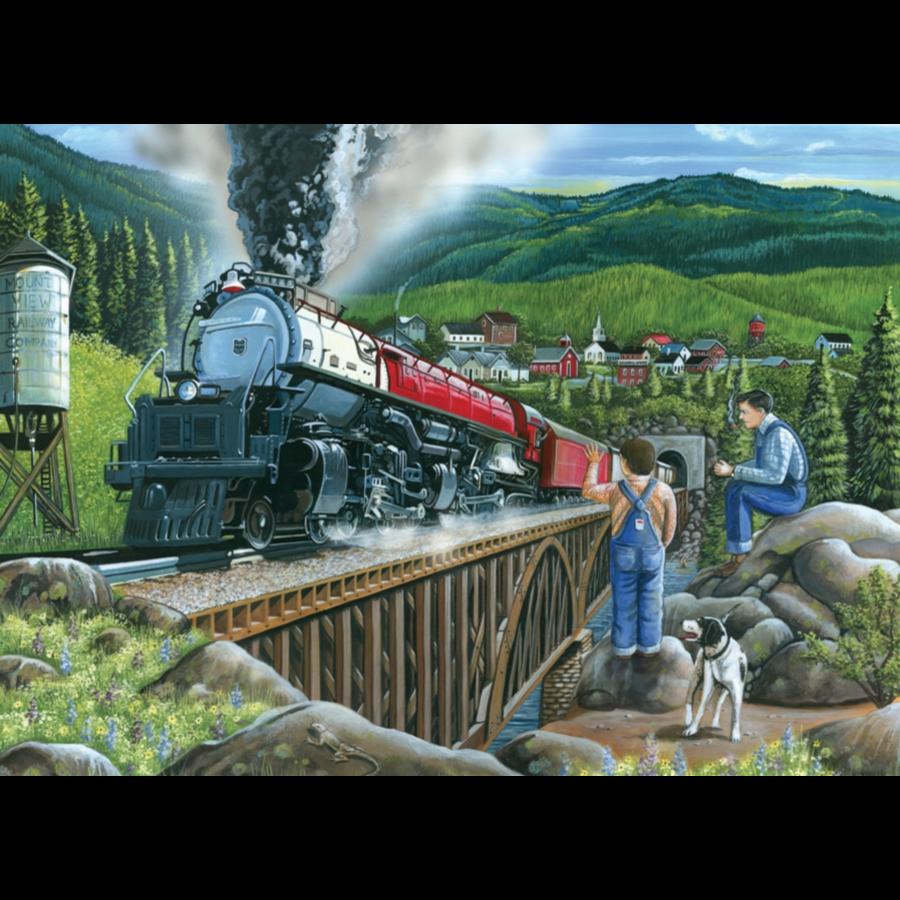 De stoomtrein verlaat de stad  - puzzel van 275 XXL stukjes-2