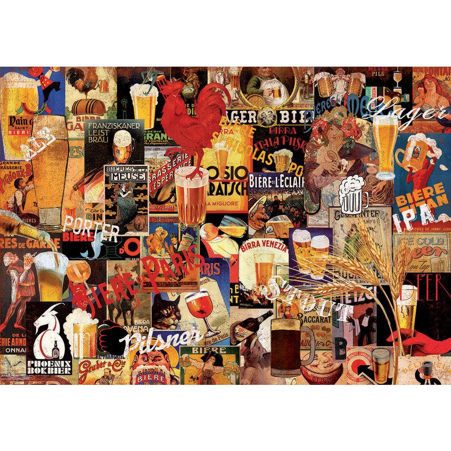 Vintage collage van bieren  - puzzel 1000 stukjes-2