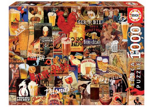 Collage nostalgique de bières - 1000 pièces