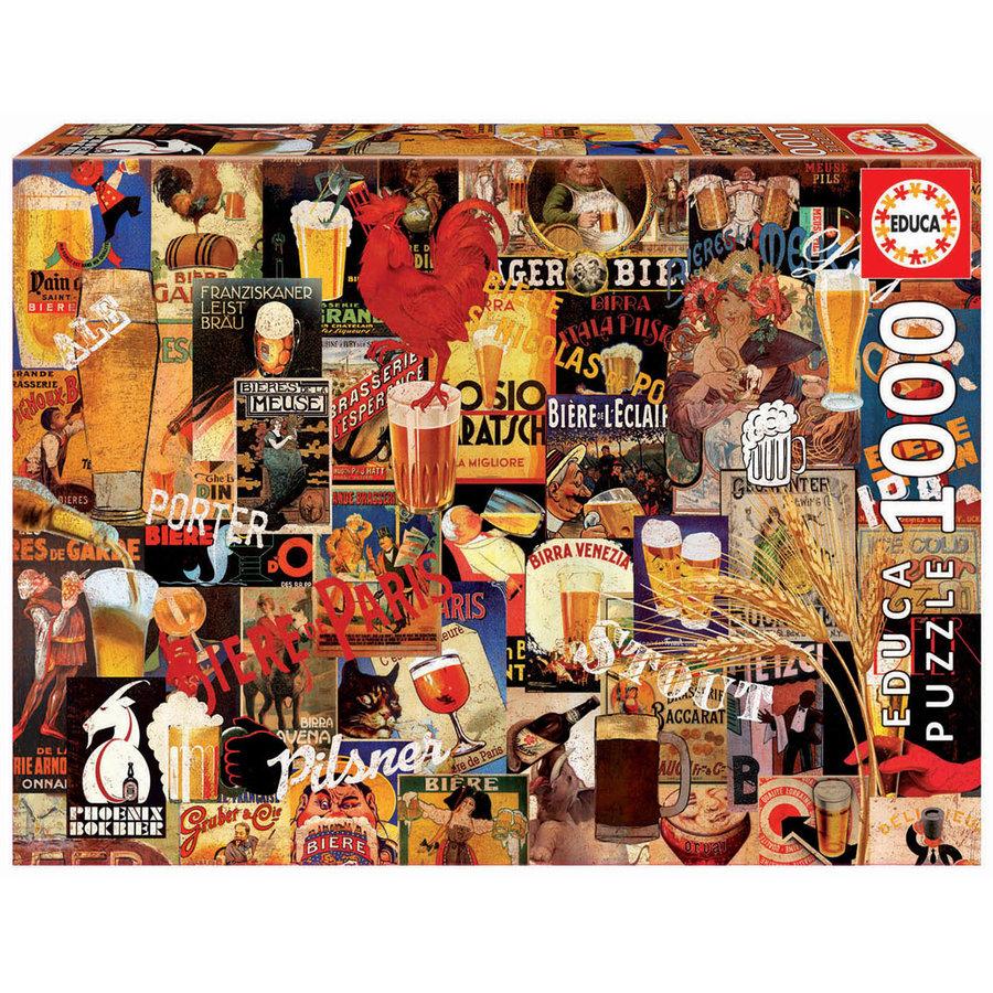 Vintage collage van bieren  - puzzel 1000 stukjes-1