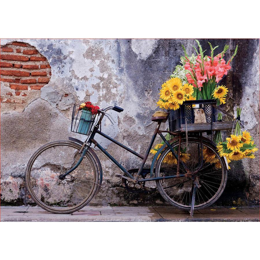Bicyclette avec des fleurs - puzzle de 500 pièces-2