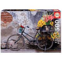 thumb-Fiets met bloemen - legpuzzel van 500 stukjes-1
