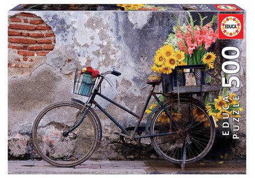 Fiets met bloemen - 500 stukjes
