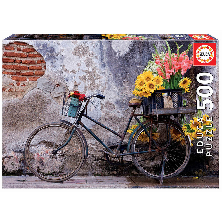 Bicycle with flowers -  jigsaw puzzle of 500 pieces-1
