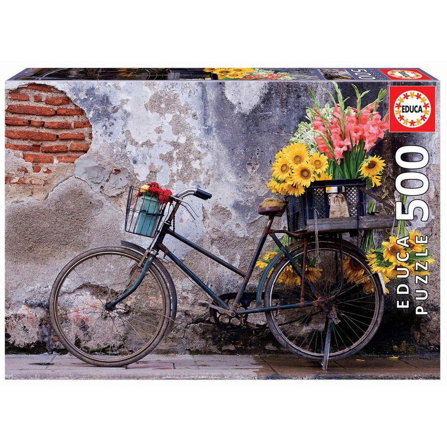 Bicyclette avec des fleurs - puzzle de 500 pièces-1